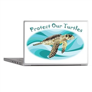 protect our turtles rectangle copy Laptop Skins