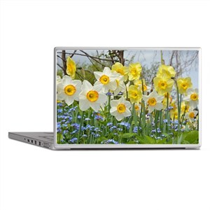 White and yellow daffodils Laptop Skins