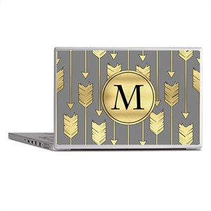 Gray and Faux Gold Arrows Monogram Laptop Skins
