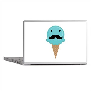 Blue Waffle Cone Mustache Face Laptop Skins