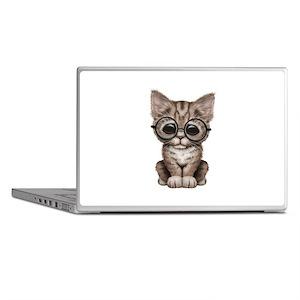 957628893f0b5 Cute Tabby Kitten With Eye Glasses Laptop Skins