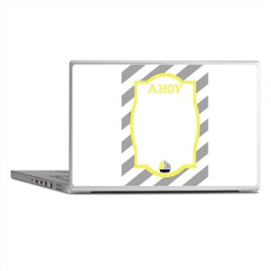 Nautical Ahoy Grey Stripes Laptop Skins