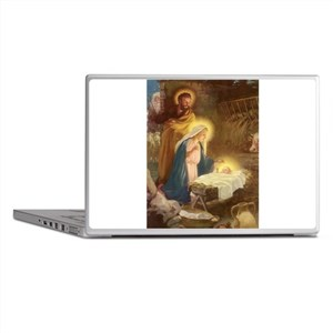Vintage Christmas Nativity Laptop Skins