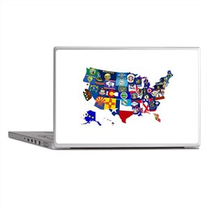 USA State Flags Map Laptop Skins