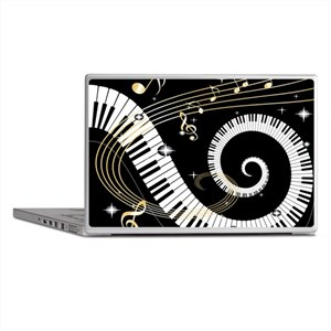 Piano and musical notes Laptop Skins