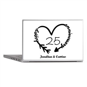 Custom Anniversary Doodle Heart Laptop Skins