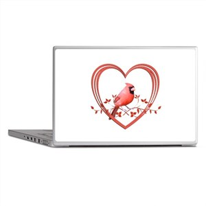 Cardinal in Heart Laptop Skins