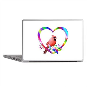 Northern Cardinal In Colorful Heart Laptop Skins