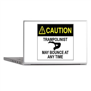 Caution Trampolinist Laptop Skins