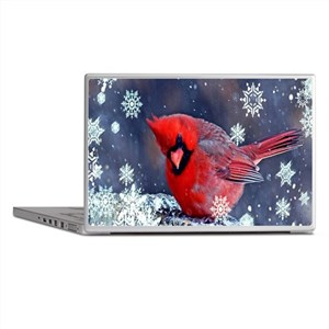winter snow red cardinal Laptop Skins