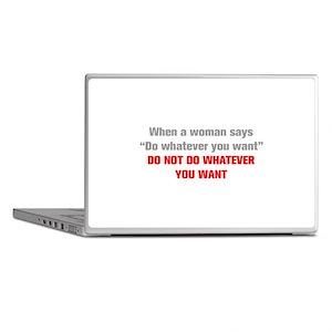 when-a-woman-akz-gray-red Laptop Skins