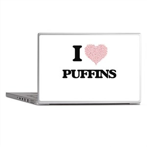 I love Puffins (Heart Made from Words Laptop Skins