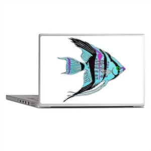 Tribal Blue Angel Fish Laptop Skins