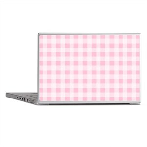 Pink Gingham Checkered Pattern Laptop Skins