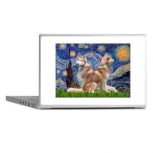 Starry Night Red Husky Pair Laptop Skins