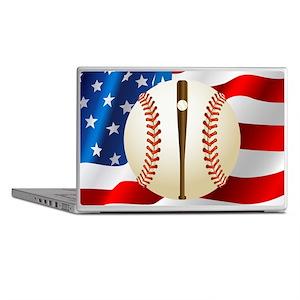 Baseball Ball On American Flag Laptop Skins