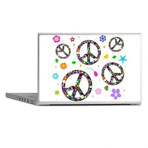 Peace symbols and flowers pat Laptop Skins