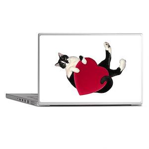 Black White Cat Heart Laptop Skins