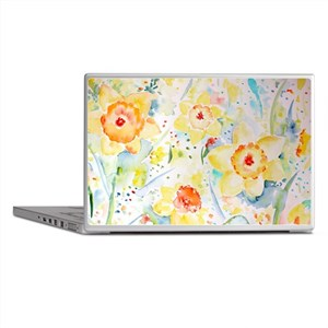 Watercolor yellow flowers daffodils p Laptop Skins
