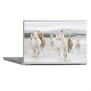 Horses Running On The Beach Laptop Skins