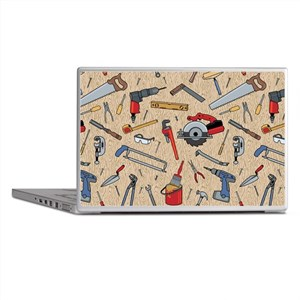 Work Tools on Wood Laptop Skins