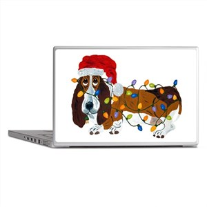 Basset Tangled In Christmas Lights Laptop Skins