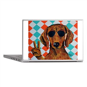 Dachshund Peace Sign Laptop Skins