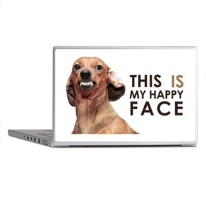 Happy Face Dachshund Laptop Skins