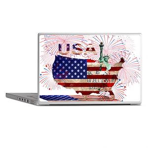 USA FIREWORKS STARS STRIPES LADY LIBE Laptop Skins