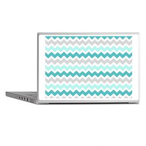 Teal Grey White Chevron Stripes Laptop Skins