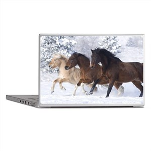 Horses Running In The Snow Laptop Skins