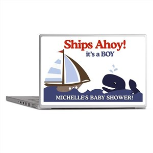 Ships Ahoy Whale Baby Shower sign Laptop Skins