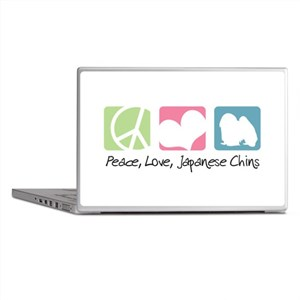 Peace, Love, Japanese Chins Laptop Skins