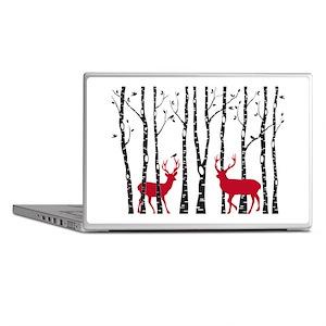 Christmas deers in birch tree forest Laptop Skins