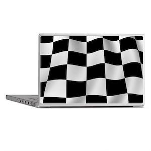 Black Racing Flag Checkerboard Laptop Skins