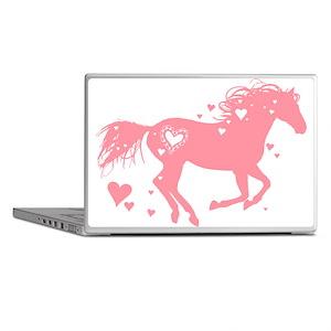 Pink Galloping Heart Horse Laptop Skins
