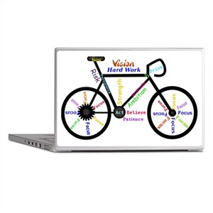 Bike made up of words to motivate Laptop Skins