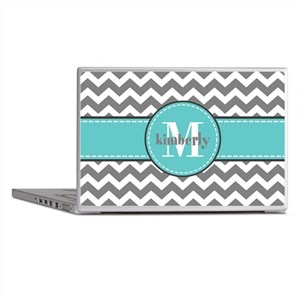 Gray and Turquoise Chevron Custom Mon Laptop Skins