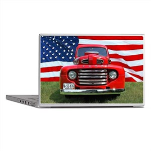 1948 Red Ford Truck USA Flag Laptop Skins