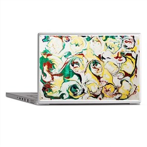Marbled Abstract Flowers Laptop Skins