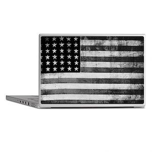 American Vintage Flag Black and White Laptop Skins