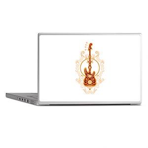 Intricate Golden Red Bass Guitar Laptop Skins