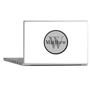 Gray Name and Initial Monogram Laptop Skins