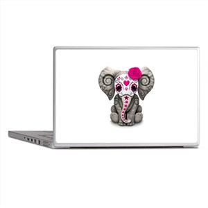 Pink Day Of The Dead Sugar Skull Baby Laptop Skins