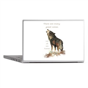 Many Great Voices Inspirational Wolf Quote Laptop