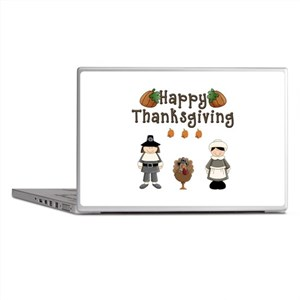 Happy Thanksgiving Pilgrims and Turkey Laptop Skin