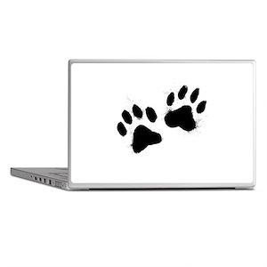 Pair Of Black Paw Laptop Skins