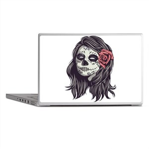 Sugar Skull Day of Dead Girl Red Rose Laptop Skins