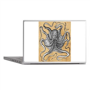 Victorian Octopus on Parchment Laptop Skins