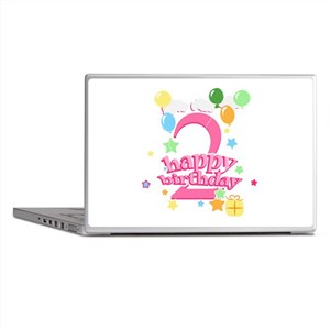 2nd Birthday with Balloons - Pink Laptop Skins